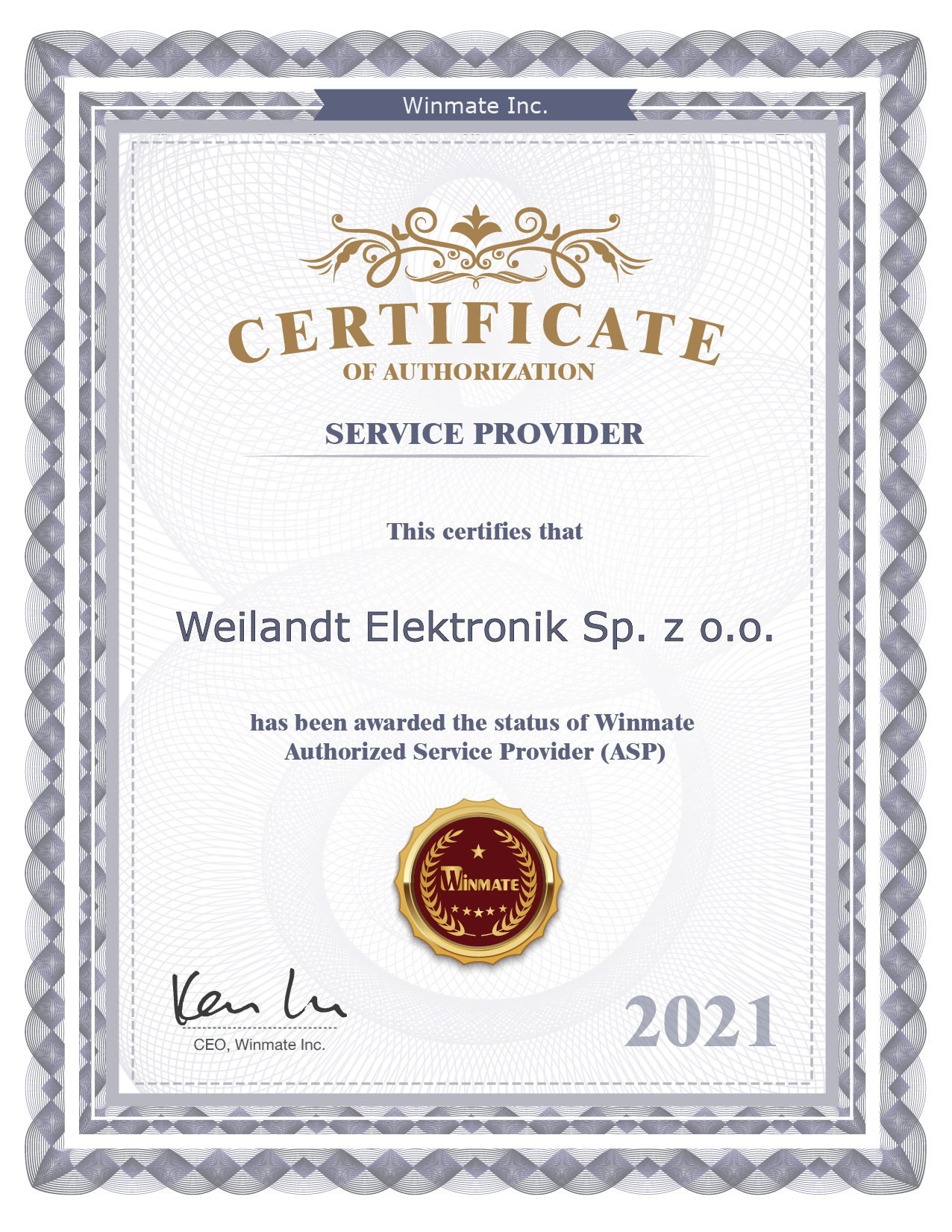 Certificate of Authorization Winmate-2021